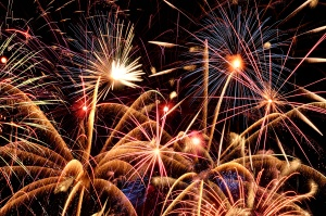 Close up view of fireworks against a dark sky